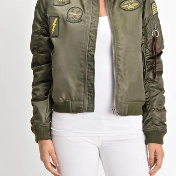 Women's Patched Flight Bomber Jacket RJK1001 - J18E