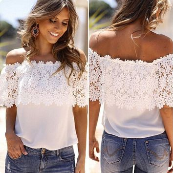 Women Ladies Summer Chiffon Blouse Off Shoulder Crochet Lace Top Casual T-Shirts