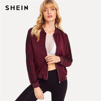 Trendy SHEIN Burgundy Casual Zipper Up Striped Sleeve Bomber Jacket 2018 New Women Autumn Raglan Sleeve Stand Collar Coat And Outerwear AT_94_13