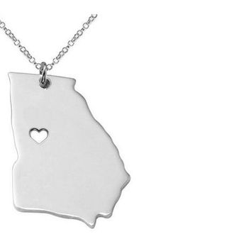 American Texas Georgia Necklaces Lovely A Heart Stainless Steel Chain Pendant Necklace For Men Women silver map Jewelry Gifts