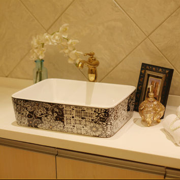 Rectangular Bathroom Lavabo Ceramic Counter Top Wash Basin Cloakroom Hand Painting Porcelain Vessel Sink Jy002
