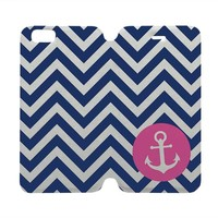 ANCHOR MONOGRAM Wallet Case for iPhone 4/4S 5/5S/SE 5C 6/6S Plus Samsung Galaxy S4 S5 S6 Edge Note 3 4 5