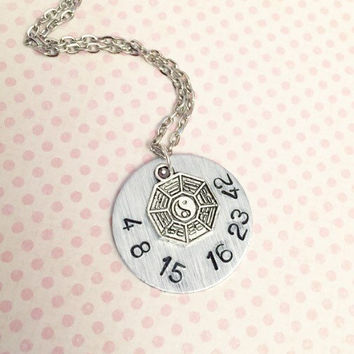 Lost Tv show Numbers Necklace - Fandom Jewelry - Fandom Necklace - Dharma Initiative Jewelry