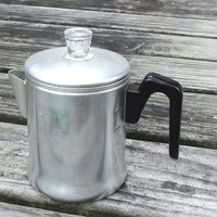 1950s Coffee Pot Maker Vintage Kitchen Decor Aluminum Mid-Century Percolator Camping GearStove Top BloomField