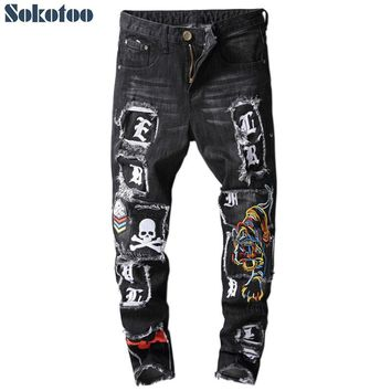 Men's letters skull printed tiger embroidery black jeans Fashion slim fit patch patchwork colored denim pants