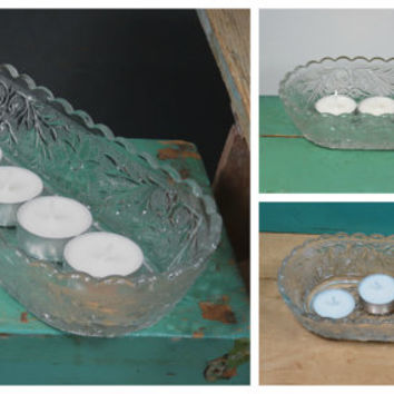 Sandwich Pattern Celery Dish • Clear Indiana Glass • Great Tealight Candle Holder • Scalloped Rim • Vintage Dinnerware