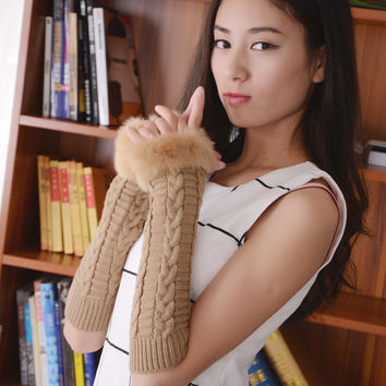 Fashion Lengthen Arm Warmers Autumn Winter Gloves Women Half-finger Glove Crochet Knitted Fingerless Lace Fluff Gloves
