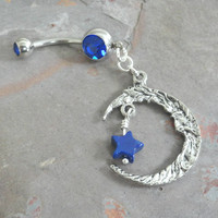 Moon and Blue Lapis Star Belly Button Jewelry Ring
