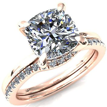 Carmeli Cushion Moissanite 4 Claw Prong Micro Pave Diamond Rail Engagement Ring
