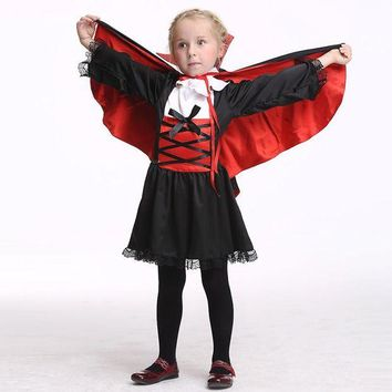 DCCKH6B Halloween Girls Vampire Queen Cosplay Dresses Set Clothing For Girl Fancy Party Dress Children Costumes Kids Clothes Outfits Set