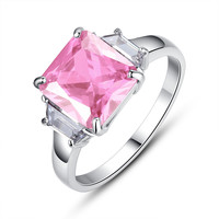 Stainless Steel Princess Cut Cubic Zirconia Womens Engagement Ring - Pink
