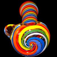 Rainbow Spiral Spoon Bowl - Ultra Heavy Large Glass Smoking Pipe - Vibrant Inside Out Colorful Design - Hand Blown Thick Borosilicate Piece