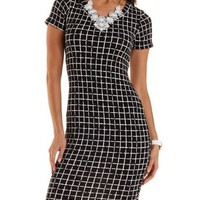 Black Combo Geometric Print Bodycon Dress by Charlotte Russe