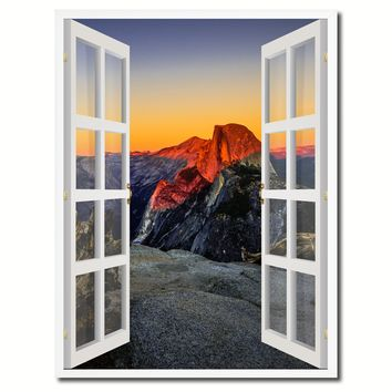 Half Dome At Sunset Yosemite Picture French Window Canvas Print with Frame Gifts Home Decor Wall Art Collection