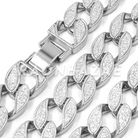 """Iced Out 14K White Gold 18mm Glitter Sandblasted 8.5"""" - 36"""" Flat Miami Cuban Chain"""