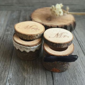 2pcs Rustic Wooden Ring Box