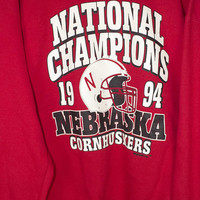 1994 nebraska cornhuskers sweatshirt - vintage 90s - national  champions - college football - university of nebraska - mens L - XL