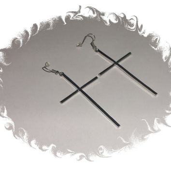 Silver Long Cross Earrings