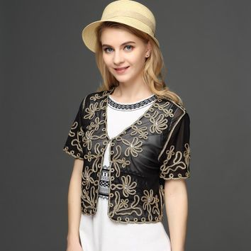 Summer Thin Short Sleeve V Neck Women's Cardigan Bolero Embroidery Floral Rhinestone Lace Mesh Shrugs Jacket