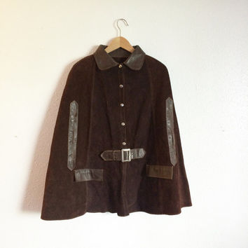 70's Two-toned suede and leather cape with buckle