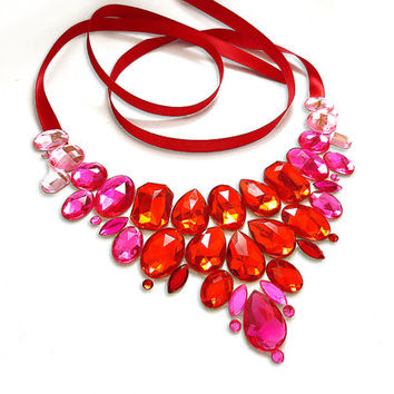 Red and Pink Bib Necklace, Romantic, Pink and Ruby Red, Bridesmaid Fashion, Jeweled, Statement Necklace