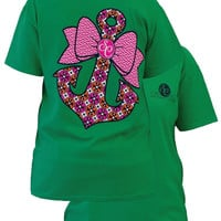 SALE Couture Preppy Classic Anchor Bow Girlie Green Bright T Shirt