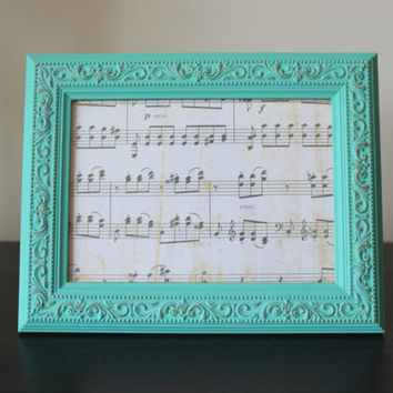 Antique looking 5 x 7 aqua and gold picture frame - Turquoise decor, ornate frame, painted frame, upcycled frame