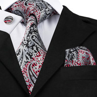 C-359 Classic Neck Tie Set Black Silver Red Mens Tie Pocket Square Cufflinks 8.5cm Jacquard Silk Ties For Men Wedding Business