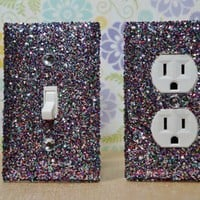 SET Of Chunky MULTICOLOR Glitter Swichplate Outlet Covers ANY Styles