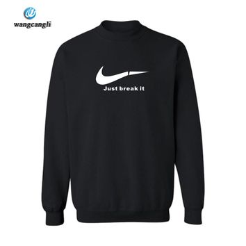 Black just break it Casual Cotton sweatshirt man 3XL Loose Fit Wear Style hoodies men sweatshirt just break it justin bieber