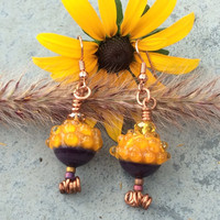 Chrysanthemum Lampwork Pearl Sunset Orange Dangle Bee CharmsEarrings