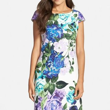 Petite Women's Eliza J Floral Jacquard Cotton Shift Dress