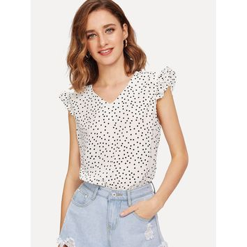 Black And White V-Neck Knot Dot Blouse
