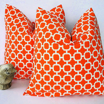 Mandarin LATTICE pillow Pair of TWO indoor outdoor 20 inch Modern orange decorator pillow 20 x 20 inches Hockley