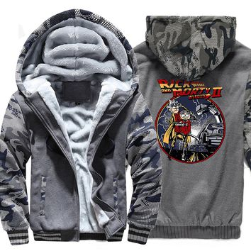 Men's Wool Lined Rick and Morty Designed Zippered Jacket