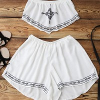 Print Chiffon Tube Top and Shorts