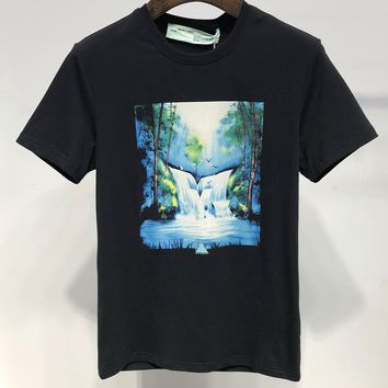 OFF-WHITE Black Fashion T-Shirt Top Tee