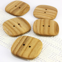 Large ash wood buttons - Set of 5 square wooden buttons - 1.7in (43mm) - Natural wood buttons - Handmade buttons (S9002)
