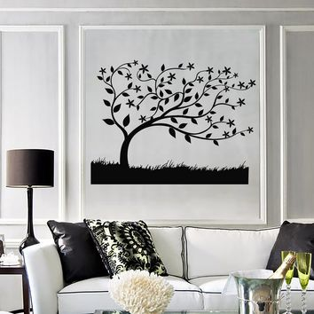 Wall Decal Beautiful Tree Branch Leaves Grass Nature Vinyl Stickers Unique Gift (ig2806)