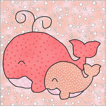 Mama and Baby Whales Applique Pattern, Applique Pattern, Quilt Applique, Whale Applique, Cute Whale Applique, Applique Design, Template