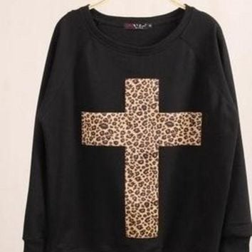 ONETOW women's turtleneck sweatshirts harajuku animal print hoodies leopard Cross pullovers