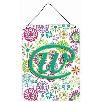 Letter W Flowers Pink Teal Green Initial Wall or Door Hanging Prints CJ2011-WDS1216