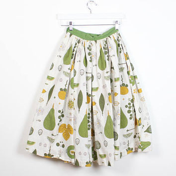 Vintage 1950s Skirt Avocado Mustard Gold Green High Waisted XS Skirt Extra Small 50s Skirt Atomic Novelty Fruit Print Full Sweep Circle Mod