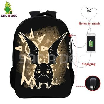 Anime Backpack School kawaii cute Digimon Adventure Patamon Tailmon Fluorescence Backpack Multifunction USB Charging Headphone Jack Bags Children Schoolbags AT_60_4