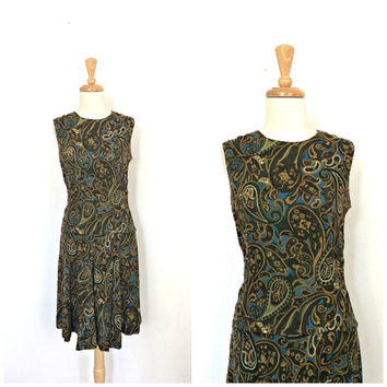 Vintage 60s Mod Dress - drop waist - sleeveless - flapper dress - paisley - Small Medium