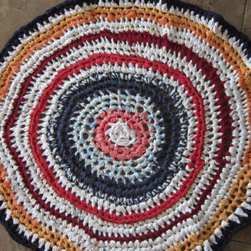 "Rag Rug Crocheted Upcycled from Bright Enviro-Friendly Repurposed Recycled Material  30"" Round"