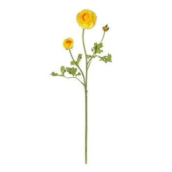 Silk Flowers -23 Inch Yellow Ranunculus Stem -Set Of 12 Flower Artificial Plant