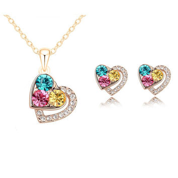 2015 New Arrival 18K Gold Plated Heart Crystal African Fashion Costume Jewelry Sets for Women Pendants Necklace Earrings Sets
