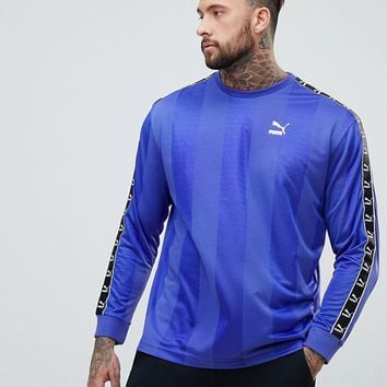 Puma Long Sleeve Tape Football Top In Purple Exclusive To ASOS at asos.com