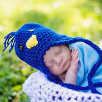 Newborn Blue Bird Hat Birdie Beanie with Ear Flaps Baby Costume Crochet Photography Prop 0 - 3 Months MADE TO ORDER, Children Clothing